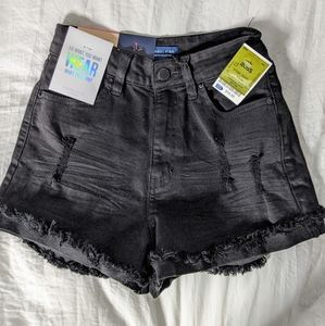 Black High Rise Destructed Shorts